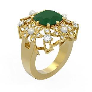 6.16 ctw Emerald & Diamond Ring 18K Yellow Gold -
