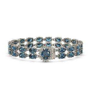 29.22 ctw London Topaz & Diamond Bracelet 14K White