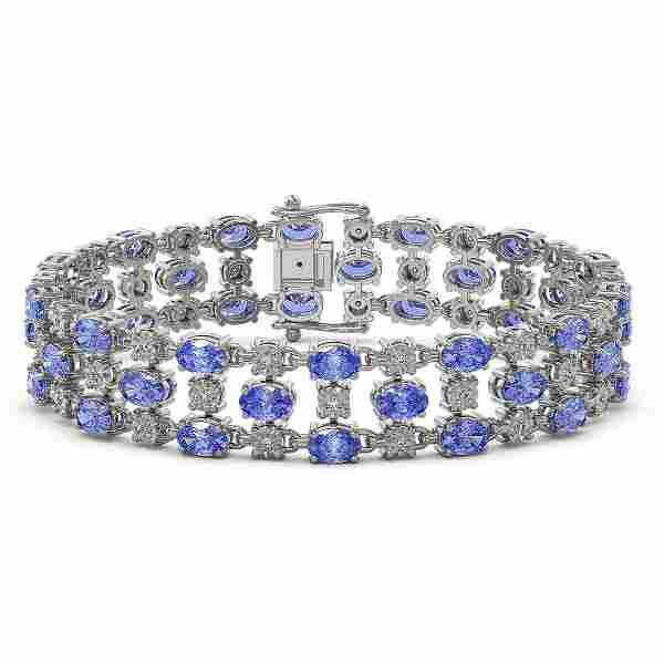 23.9 ctw Tanzanite & Diamond Bracelet 10K White Gold -