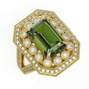 6.08 ctw Certified Tourmaline & Diamond Victorian Ring