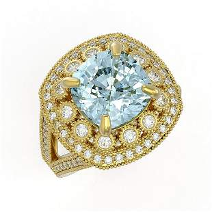 5.27 ctw Certified Aquamarine & Diamond Victorian Ring