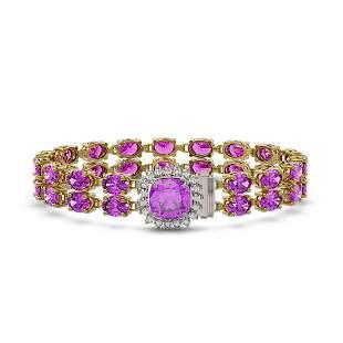 14.31 ctw Amethyst & Diamond Bracelet 14K Yellow Gold -