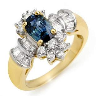 2.25 ctw Blue Sapphire & Diamond Ring 14k Yellow Gold -