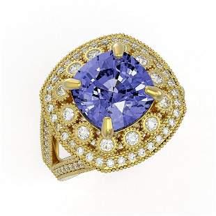 6.72 ctw Certified Tanzanite & Diamond Victorian Ring