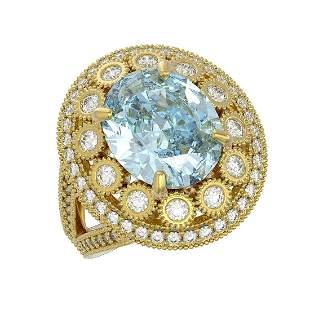 6.96 ctw Certified Aquamarine & Diamond Victorian Ring