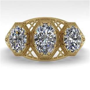 2 ctw Past Present Future Oval Cut Diamond Ring Art