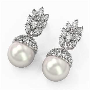 5.78 ctw Marquise Diamond & Pearl Earrings 18K White