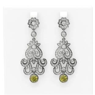 4.51 ctw Fancy Yellow Diamond Earrings 18K White Gold -