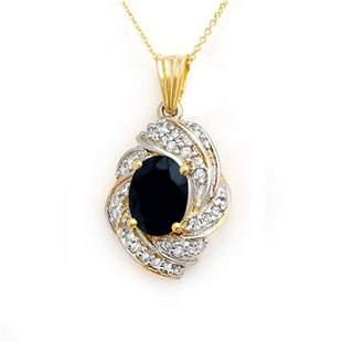 3.88 ctw Blue Sapphire & Diamond Pendant 14k Yellow