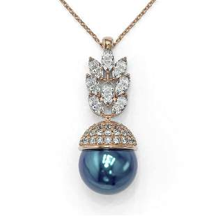 3.69 ctw Marquise Diamond & Pearl Necklace 18K Rose