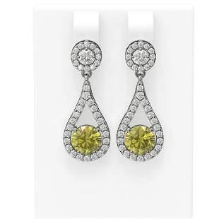 3.54 ctw Fancy Yellow Diamond Earrings 18K White Gold -