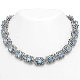 109.25 ctw Aquamarine & Diamond Victorian Necklace 14K