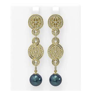 2.83 ctw Diamond & Pearl Earrings 18K Yellow Gold -
