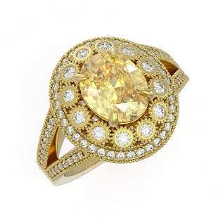 3.75 ctw Canary Citrine & Diamond Victorian Ring 14K