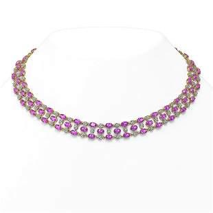 53.09 ctw Amethyst & Diamond Necklace 10K Yellow Gold -