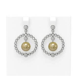 2 ctw Diamond & Pearl Earrings 18K White Gold -