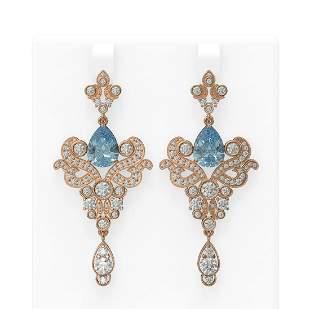 9.35 ctw Blue Topaz & Diamond Earrings 18K Rose Gold -