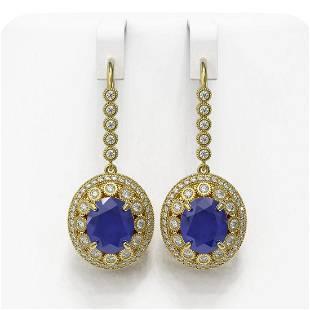 17.22 ctw Sapphire & Diamond Victorian Earrings 14K