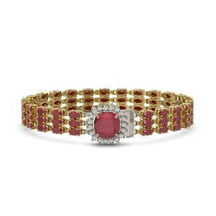 31.91 ctw Ruby & Diamond Bracelet 14K Yellow Gold -