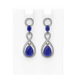 9.85 ctw Sapphire & Diamond Earrings 18K White Gold -