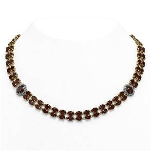 63.15 ctw Garnet & Diamond Necklace 14K Yellow Gold -