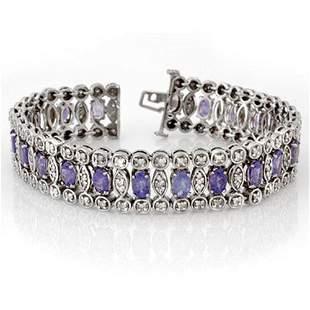 17.50 ctw Tanzanite & Diamond Bracelet 18k White Gold -