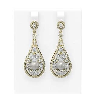 5.93 ctw Diamond & Pearl Earrings 18K Yellow Gold -