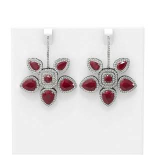31.28 ctw Ruby Diamond Earrings 18K White Gold -