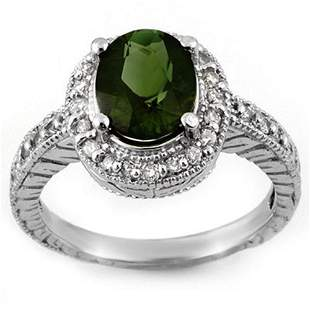 3.40 ctw Green Tourmaline & Diamond Ring 14k White Gold
