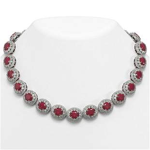 111.75 ctw Certified Ruby & Diamond Victorian Necklace