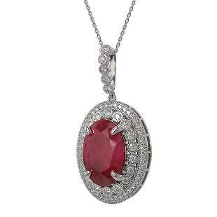 18.25 ctw Certified Ruby & Diamond Victorian Necklace