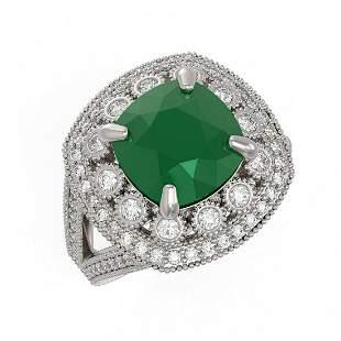 6.47 ctw Certified Emerald & Diamond Victorian Ring 14K