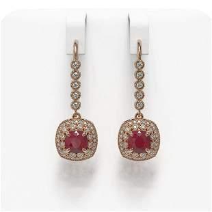 5.1 ctw Certified Ruby & Diamond Victorian Earrings 14K