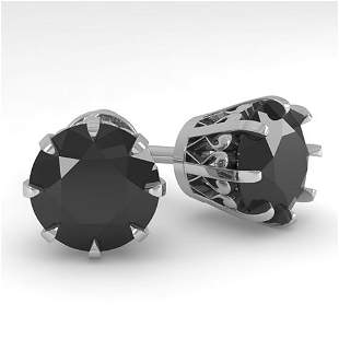 4.0 ctw Black Diamond Stud Solitaire Earrings Vintage