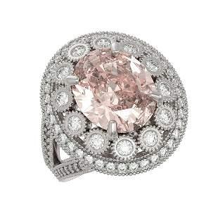7.06 ctw Certified Morganite & Diamond Victorian Ring