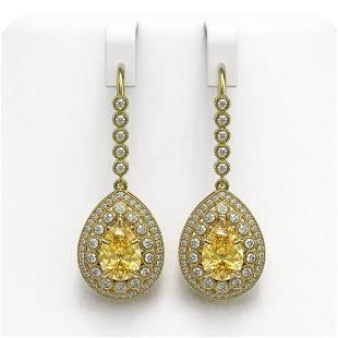 8.15 ctw Canary Citrine & Diamond Victorian Earrings
