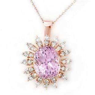 8.68 ctw Kunzite & Diamond Necklace 14k Rose Gold -