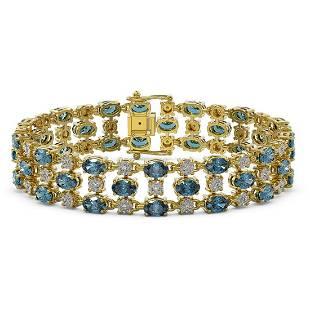 16.06 ctw London Topaz & Diamond Row Bracelet 10K