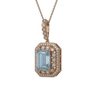 12.5 ctw Sky Topaz & Diamond Victorian Necklace 14K