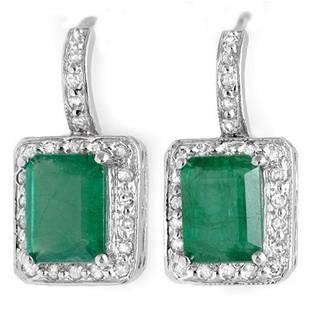 3.50 ctw Emerald & Diamond Earrings 14k White Gold -