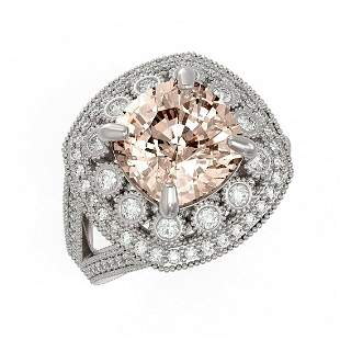 5.82 ctw Certified Morganite & Diamond Victorian Ring