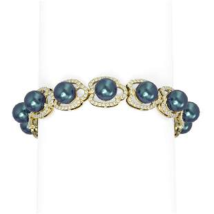 4.45 ctw Diamond & Pearl Bracelet 18K Yellow Gold -
