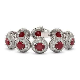 49.17 ctw Certified Ruby & Diamond Victorian Bracelet