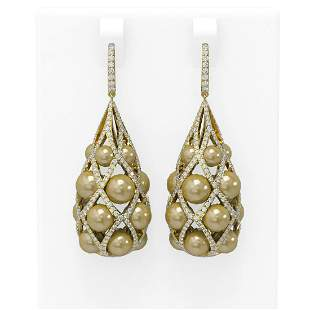 5.32 ctw Diamond & Pearl Earrings 18K Yellow Gold -