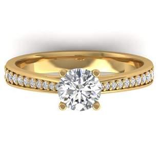 1.01 ctw Certified VS/SI Diamond Art Deco Ring 14k