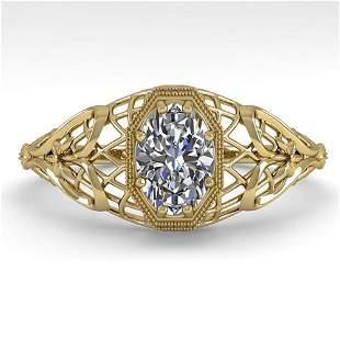 0.50 ctw VS/SI Oval Diamond Engagment Ring Art Deco 18k