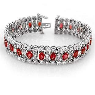 18.50 ctw Red Sapphire & Diamond Bracelet 18k White
