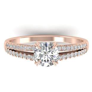 1.11 ctw Certified VS/SI Diamond Art Deco Ring 14k Rose