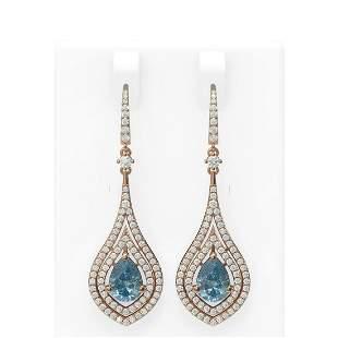 9.25 ctw Blue Topaz & Diamond Earrings 18K Rose Gold -