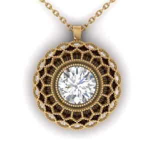 1.25 ctw Certified VS/SI Diamond Art Deco Necklace 14k